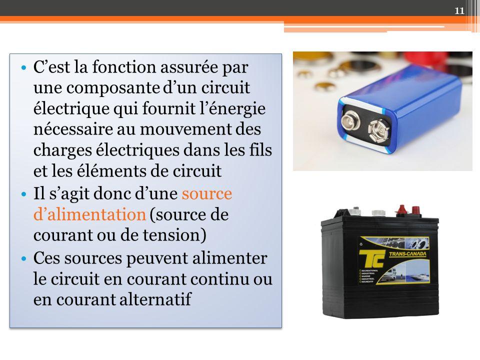 Cest la fonction assurée par une composante dun circuit électrique qui fournit lénergie nécessaire au mouvement des charges électriques dans les fils