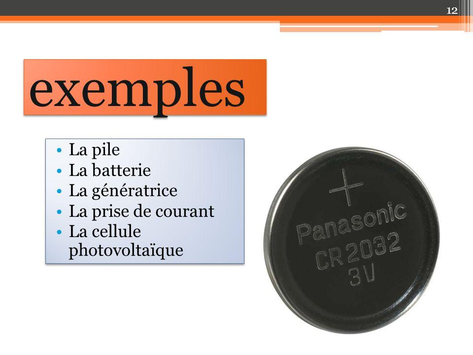La pile La batterie La génératrice La prise de courant La cellule photovoltaïque La pile La batterie La génératrice La prise de courant La cellule photovoltaïque exemples 12