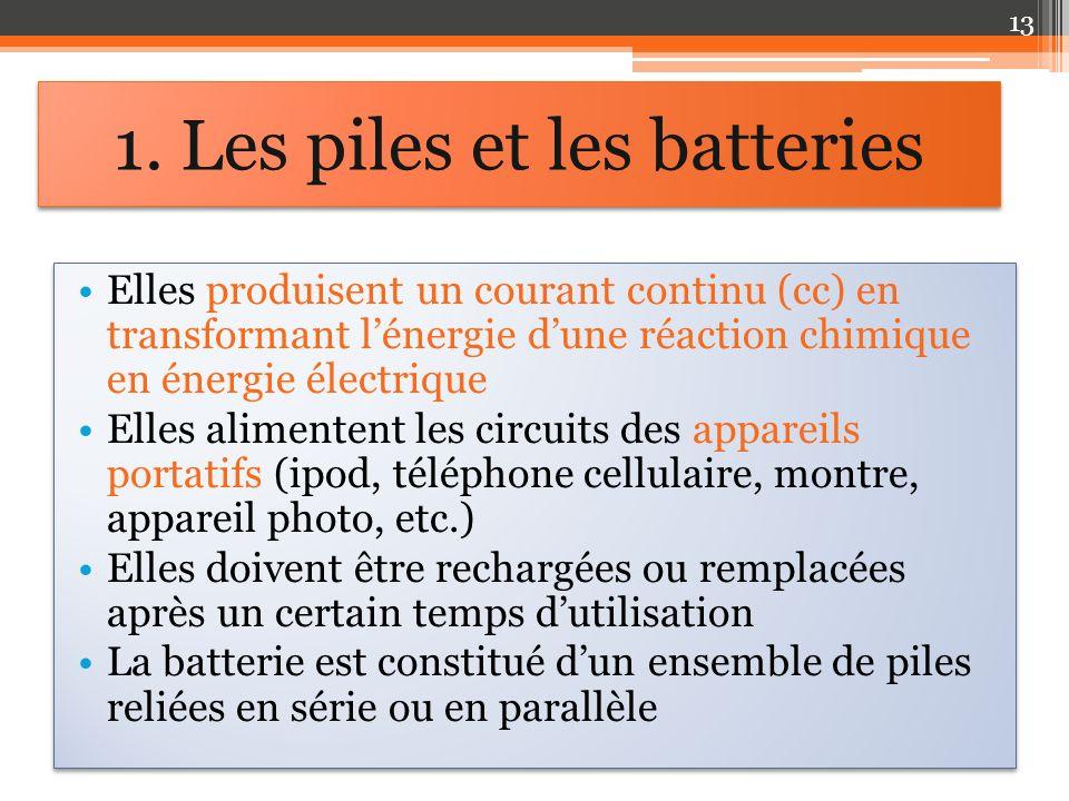 Elles produisent un courant continu (cc) en transformant lénergie dune réaction chimique en énergie électrique Elles alimentent les circuits des appareils portatifs (ipod, téléphone cellulaire, montre, appareil photo, etc.) Elles doivent être rechargées ou remplacées après un certain temps dutilisation La batterie est constitué dun ensemble de piles reliées en série ou en parallèle Elles produisent un courant continu (cc) en transformant lénergie dune réaction chimique en énergie électrique Elles alimentent les circuits des appareils portatifs (ipod, téléphone cellulaire, montre, appareil photo, etc.) Elles doivent être rechargées ou remplacées après un certain temps dutilisation La batterie est constitué dun ensemble de piles reliées en série ou en parallèle 1.