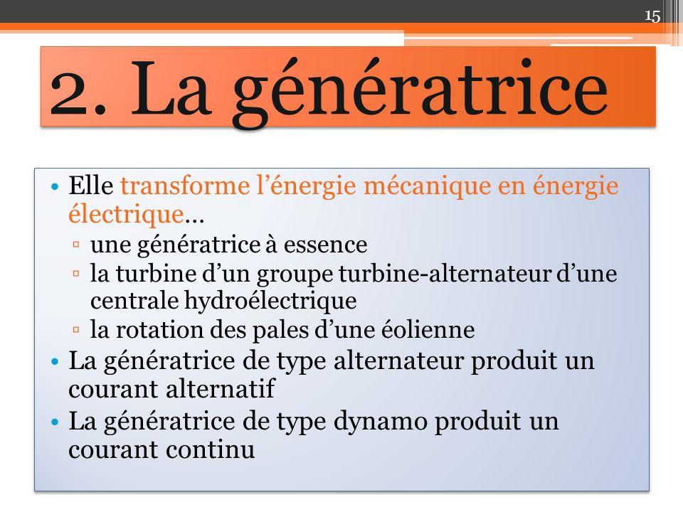 Elle transforme lénergie mécanique en énergie électrique… une génératrice à essence la turbine dun groupe turbine-alternateur dune centrale hydroélect