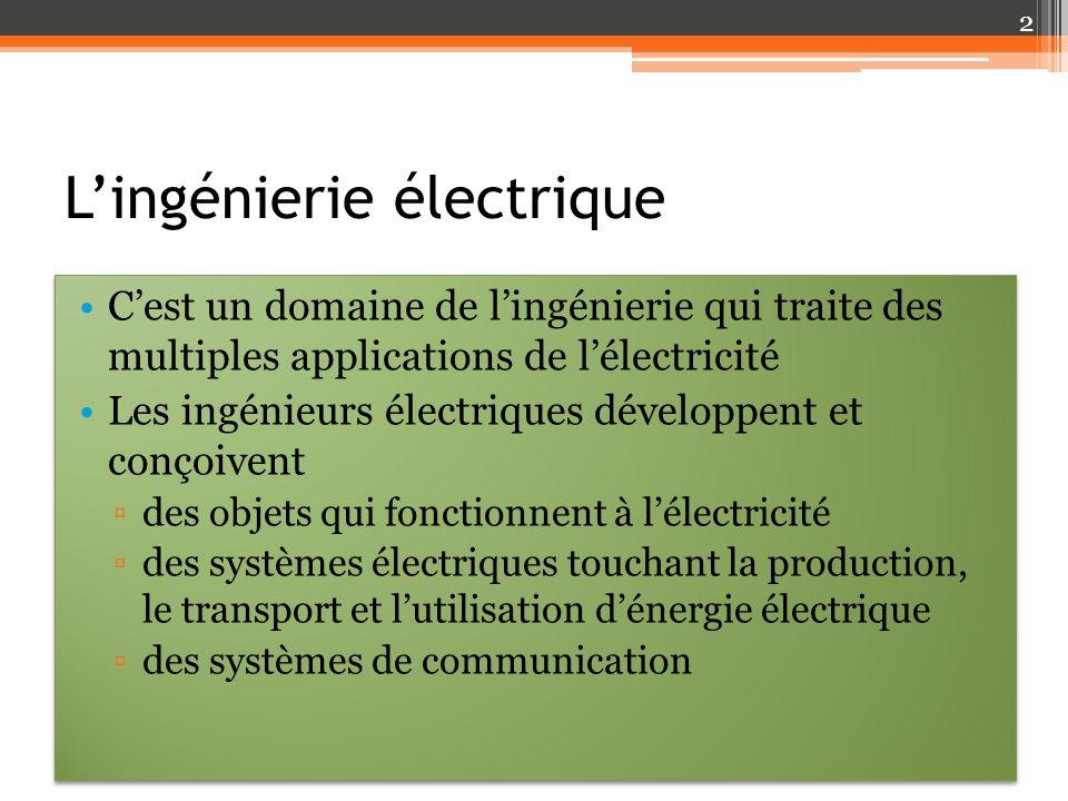 Les domaines de lingénierie électrique En électricité les composantes électriques sont massives et robustes les courants sont élevés et les appareils sont puissants En électronique Les composantes électroniques utilisent de faibles intensités de courant Les pièces sont petites (miniaturisation importante) Le traitement de linformation exige une manipulation plus fine et plus précise des courants Le silicium, un matériau semi-conducteur, est utilisé à profusion dans les diodes et les transistors des circuits imprimés En électricité les composantes électriques sont massives et robustes les courants sont élevés et les appareils sont puissants En électronique Les composantes électroniques utilisent de faibles intensités de courant Les pièces sont petites (miniaturisation importante) Le traitement de linformation exige une manipulation plus fine et plus précise des courants Le silicium, un matériau semi-conducteur, est utilisé à profusion dans les diodes et les transistors des circuits imprimés 3
