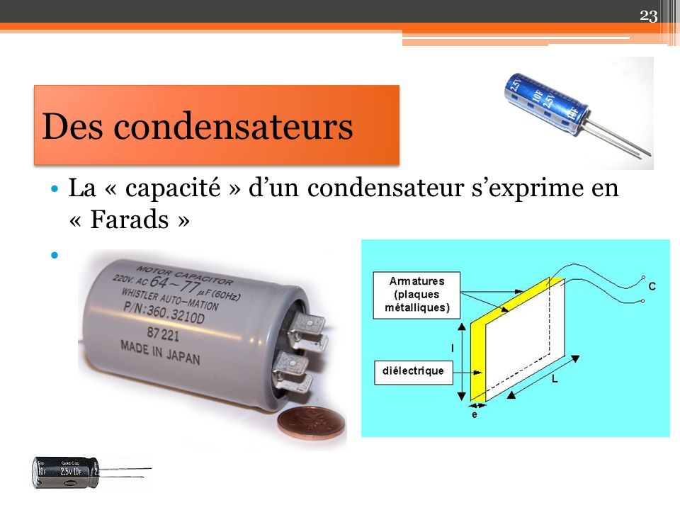 Des condensateurs La « capacité » dun condensateur sexprime en « Farads » 23
