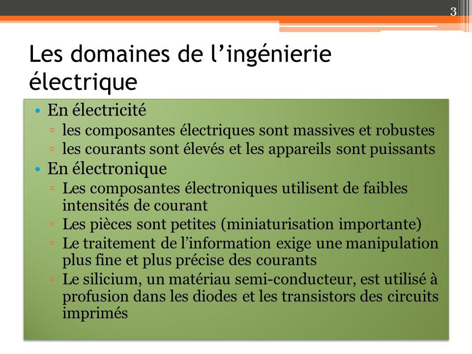 Les domaines de lingénierie électrique En électricité les composantes électriques sont massives et robustes les courants sont élevés et les appareils