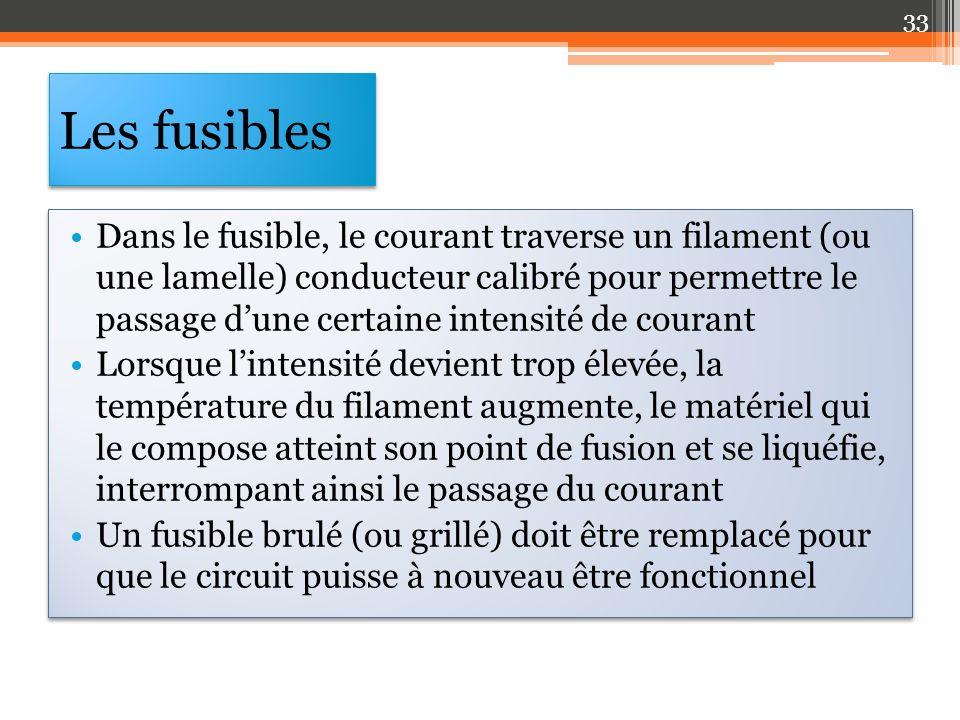 Les fusibles Dans le fusible, le courant traverse un filament (ou une lamelle) conducteur calibré pour permettre le passage dune certaine intensité de