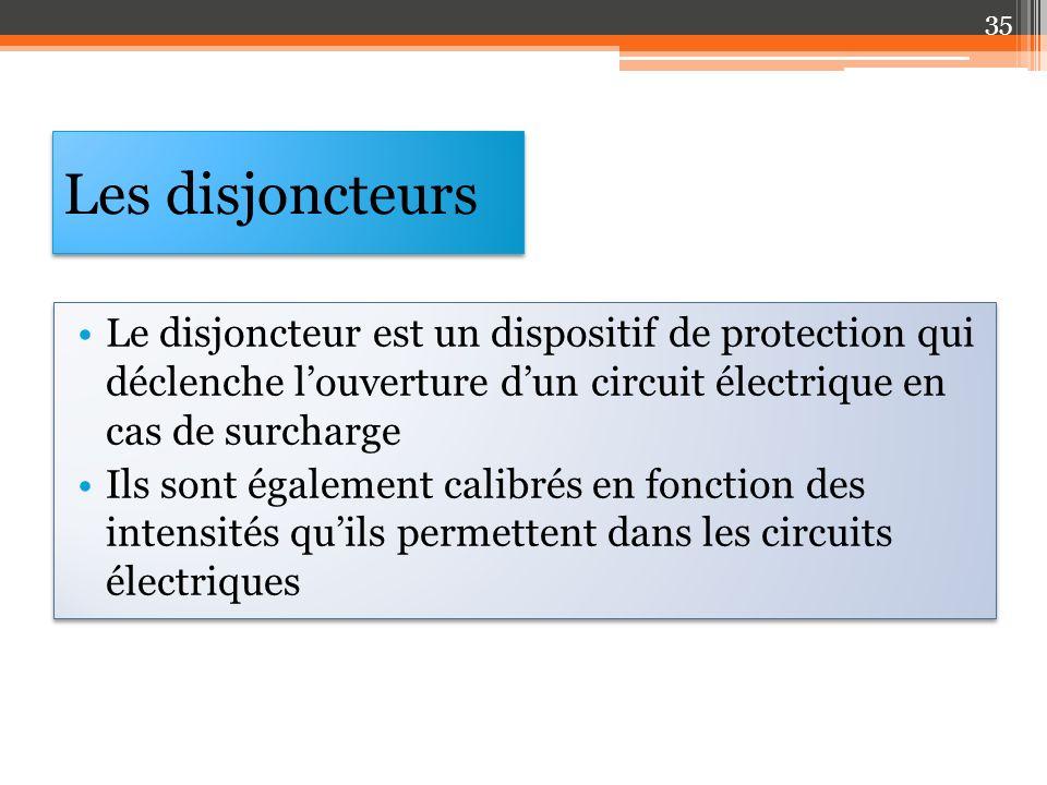 Les disjoncteurs Le disjoncteur est un dispositif de protection qui déclenche louverture dun circuit électrique en cas de surcharge Ils sont également calibrés en fonction des intensités quils permettent dans les circuits électriques Le disjoncteur est un dispositif de protection qui déclenche louverture dun circuit électrique en cas de surcharge Ils sont également calibrés en fonction des intensités quils permettent dans les circuits électriques 35