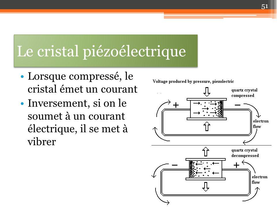 Le cristal piézoélectrique Lorsque compressé, le cristal émet un courant Inversement, si on le soumet à un courant électrique, il se met à vibrer 51