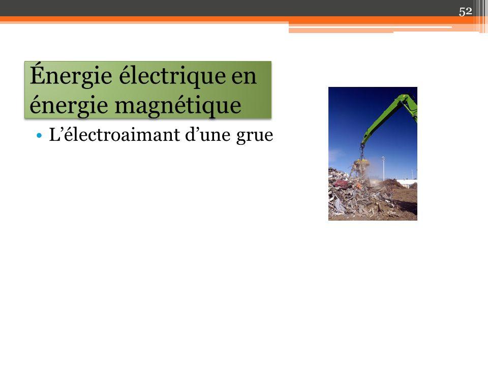 Énergie électrique en énergie magnétique Lélectroaimant dune grue 52