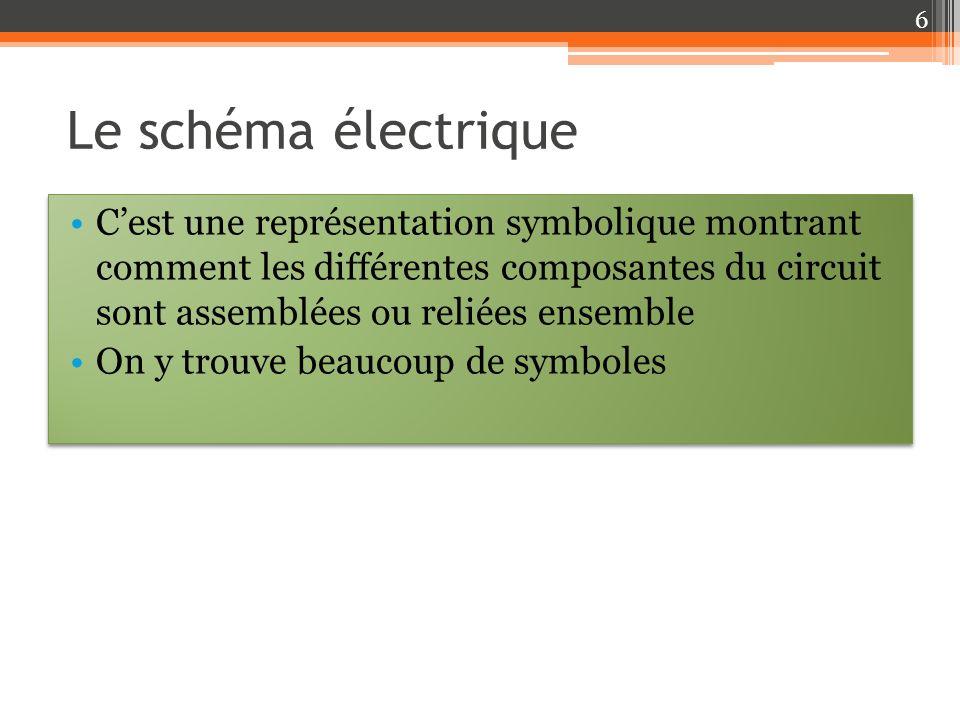 Le schéma électrique Cest une représentation symbolique montrant comment les différentes composantes du circuit sont assemblées ou reliées ensemble On y trouve beaucoup de symboles Cest une représentation symbolique montrant comment les différentes composantes du circuit sont assemblées ou reliées ensemble On y trouve beaucoup de symboles 6