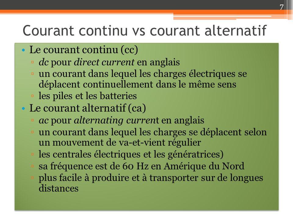 Courant continu vs courant alternatif Le courant continu (cc) dc pour direct current en anglais un courant dans lequel les charges électriques se dépl