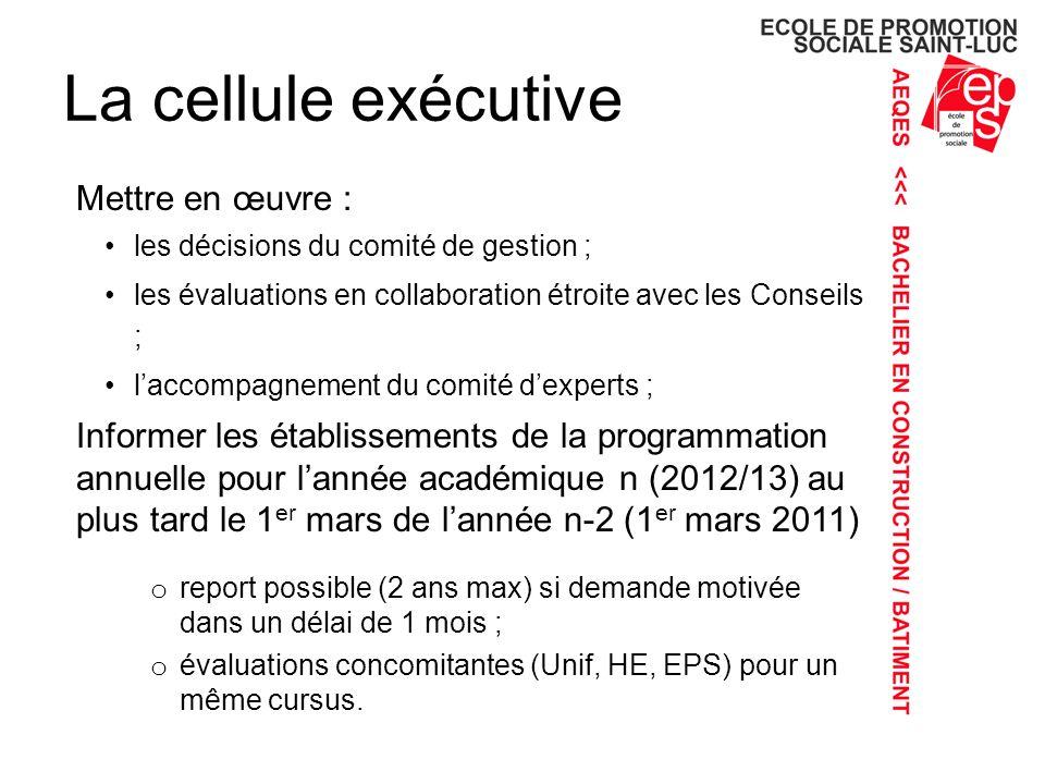 La cellule exécutive Mettre en œuvre : les décisions du comité de gestion ; les évaluations en collaboration étroite avec les Conseils ; laccompagnement du comité dexperts ; Informer les établissements de la programmation annuelle pour lannée académique n (2012/13) au plus tard le 1 er mars de lannée n-2 (1 er mars 2011) o report possible (2 ans max) si demande motivée dans un délai de 1 mois ; o évaluations concomitantes (Unif, HE, EPS) pour un même cursus.