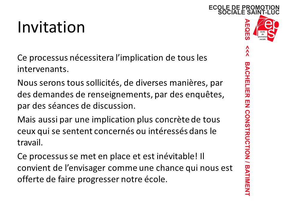Invitation Ce processus nécessitera limplication de tous les intervenants.