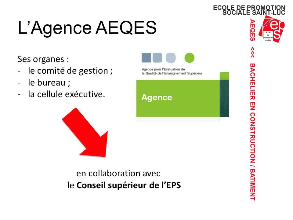 LAgence AEQES Ses organes : -le comité de gestion ; -le bureau ; -la cellule exécutive.