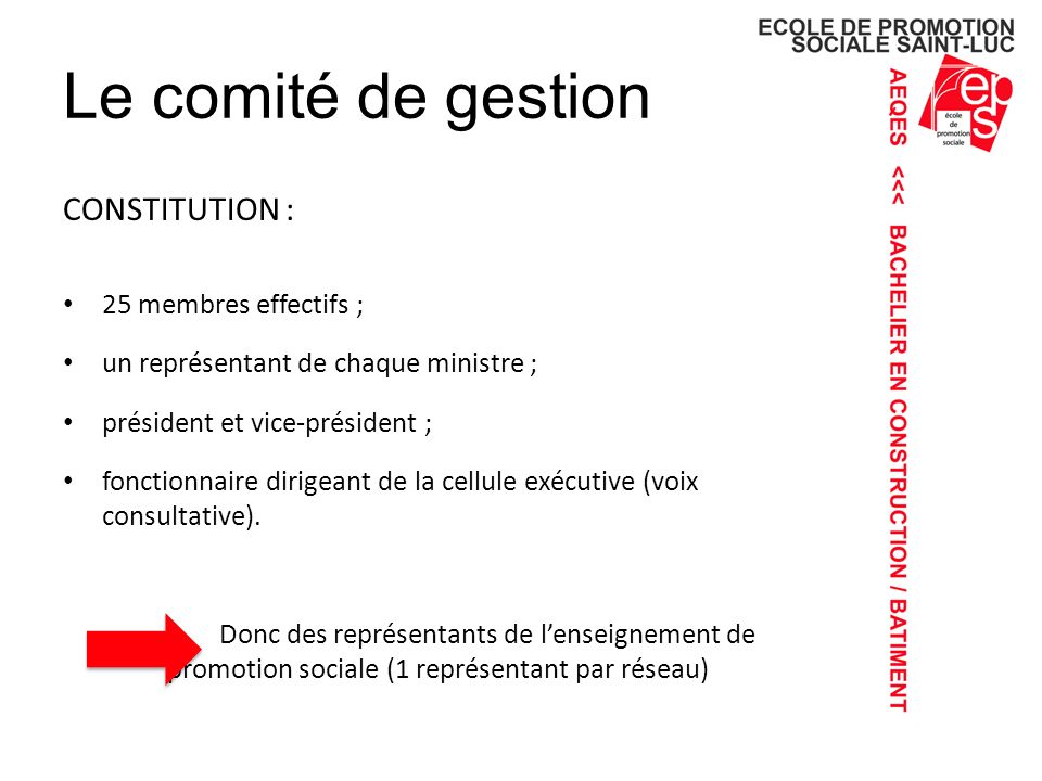 Le comité de gestion CONSTITUTION : 25 membres effectifs ; un représentant de chaque ministre ; président et vice-président ; fonctionnaire dirigeant de la cellule exécutive (voix consultative).
