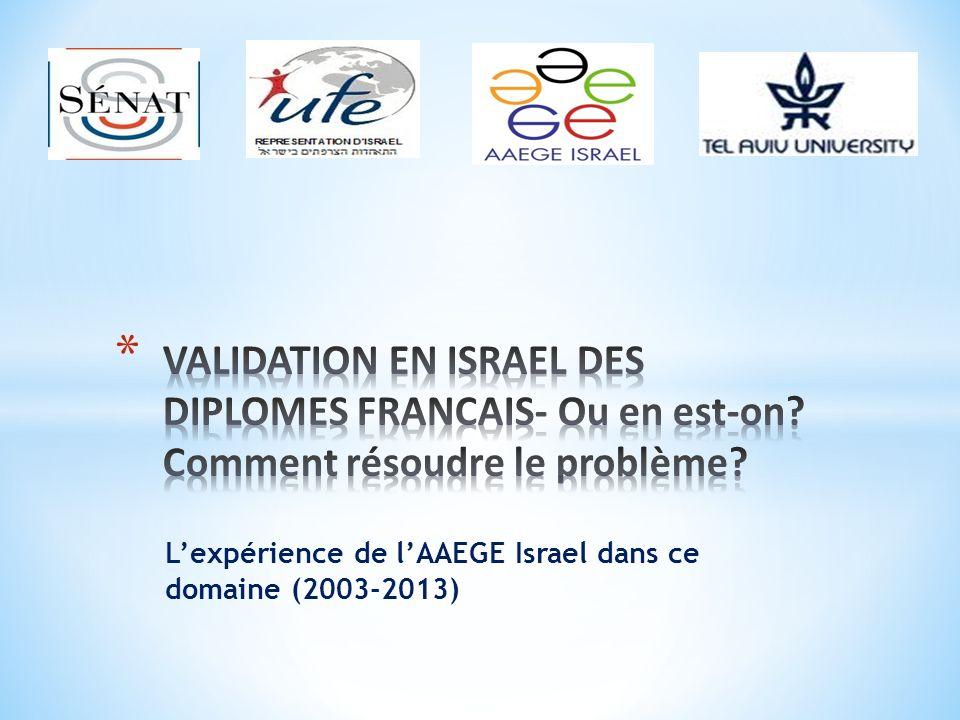 Lexpérience de lAAEGE Israel dans ce domaine (2003-2013)