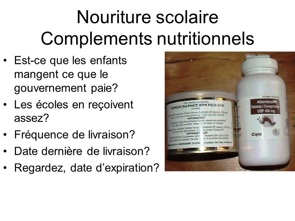 Nouriture scolaire Complements nutritionnels Est-ce que les enfants mangent ce que le gouvernement paie.