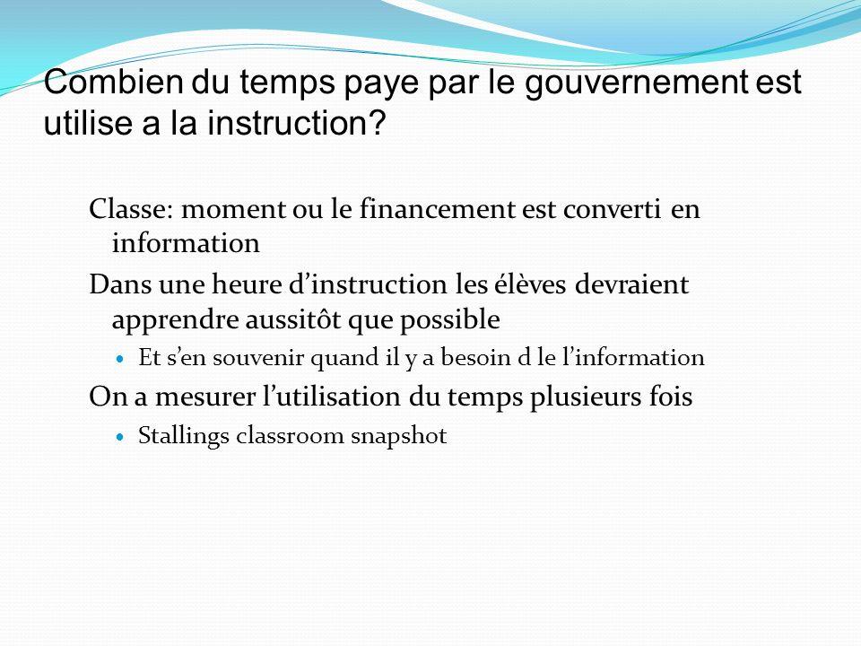 Combien du temps paye par le gouvernement est utilise a la instruction.