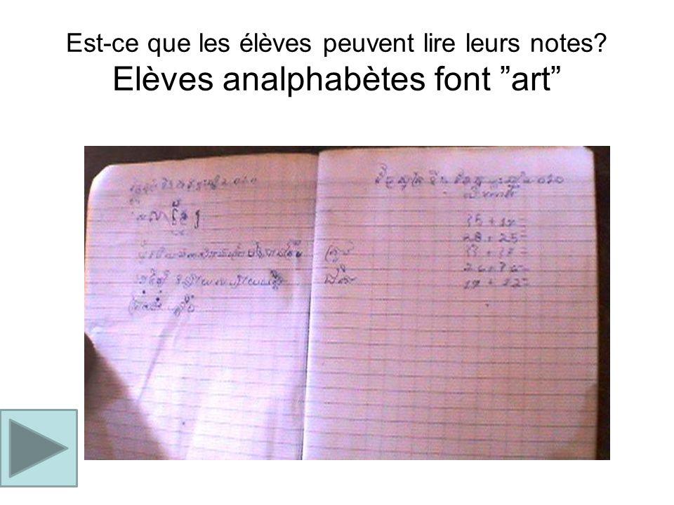 Est-ce que les élèves peuvent lire leurs notes? Elèves analphabètes font art