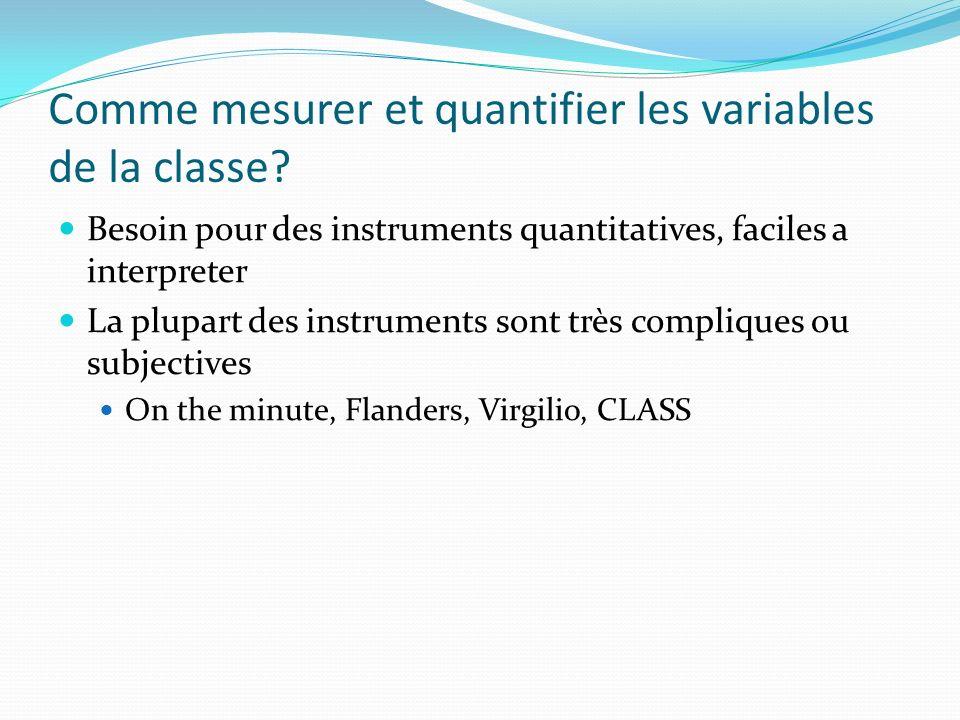 Comme mesurer et quantifier les variables de la classe.