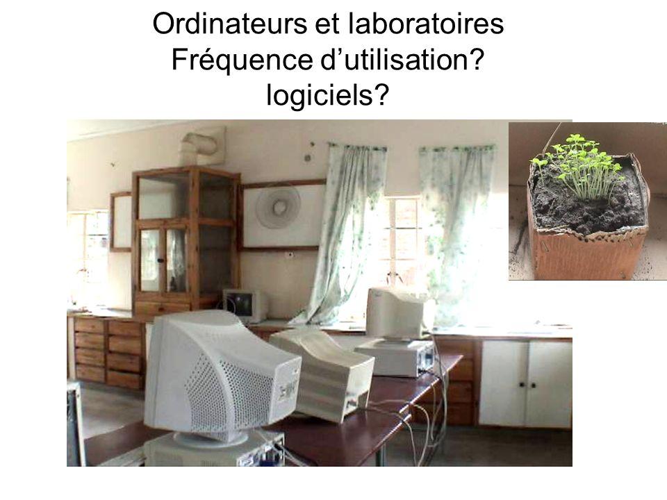 Ordinateurs et laboratoires Fréquence dutilisation logiciels
