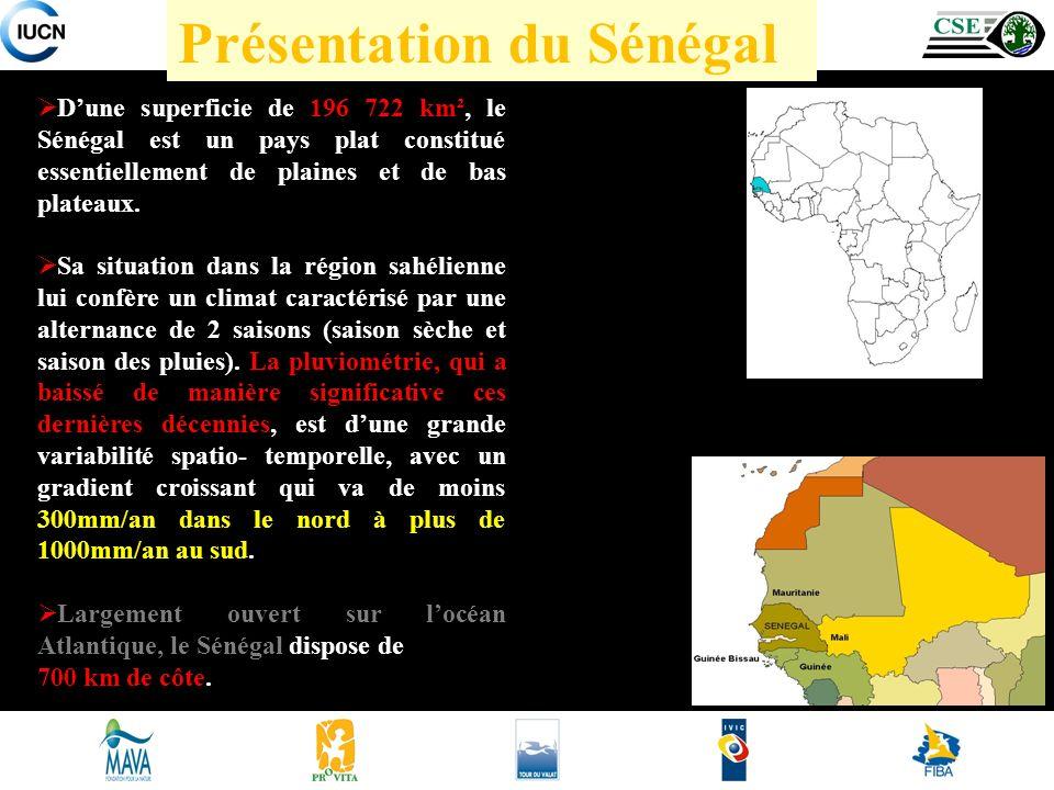 Présentation du Sénégal Dune superficie de 196 722 km², le Sénégal est un pays plat constitué essentiellement de plaines et de bas plateaux.