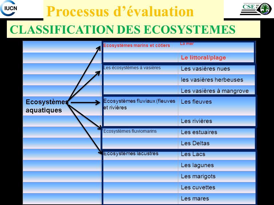 CLASSIFICATION DES ECOSYSTEMES Processus dévaluation