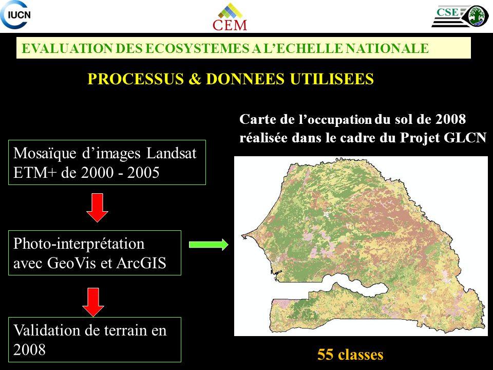 EVALUATION DES ECOSYSTEMES A LECHELLE NATIONALE PROCESSUS & DONNEES UTILISEES Carte de loccupation du sol de 2008 réalisée dans le cadre du Projet GLC