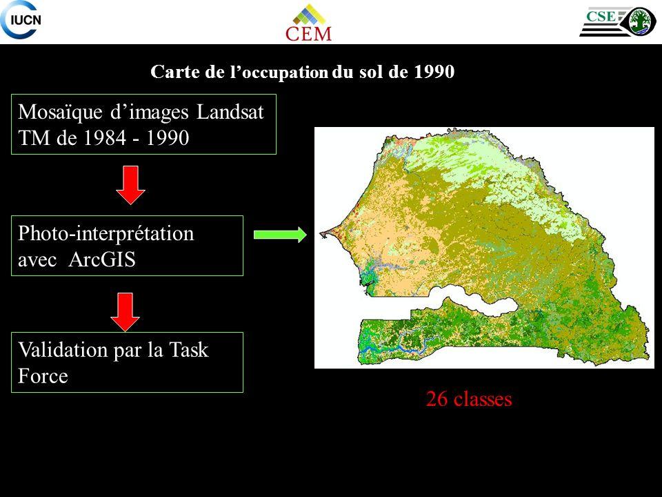 Carte de loccupation du sol de 1990 Mosaïque dimages Landsat TM de 1984 - 1990 Photo-interprétation avec ArcGIS Validation par la Task Force 26 classes