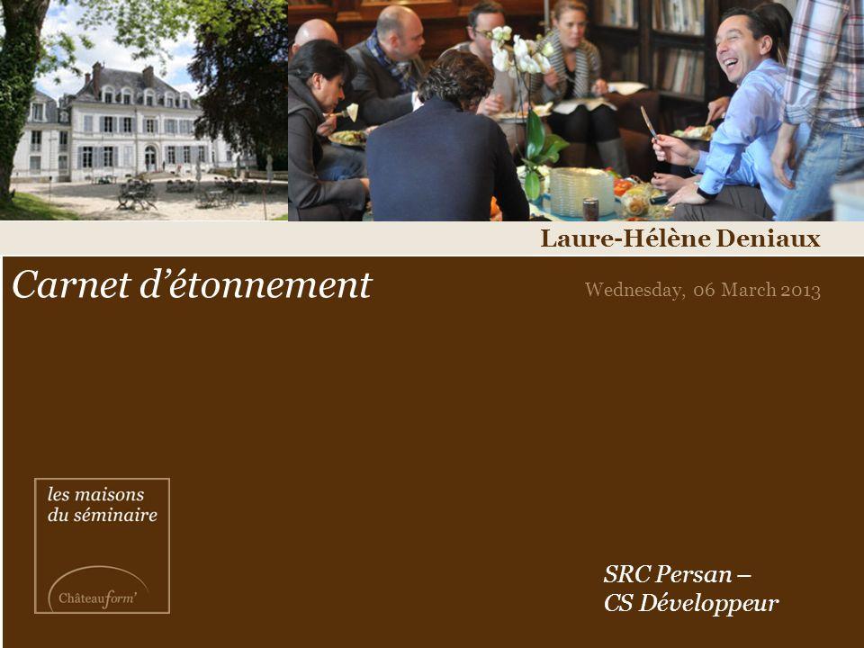 Carnet détonnement Wednesday, 06 March 2013 Laure-Hélène Deniaux SRC Persan – CS Développeur