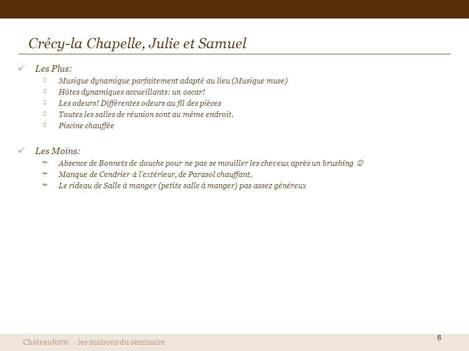 Château form - les maisons du séminaire 6 Crécy-la Chapelle, Julie et Samuel Les Plus: Musique dynamique parfaitement adapté au lieu (Musique muse) Hô