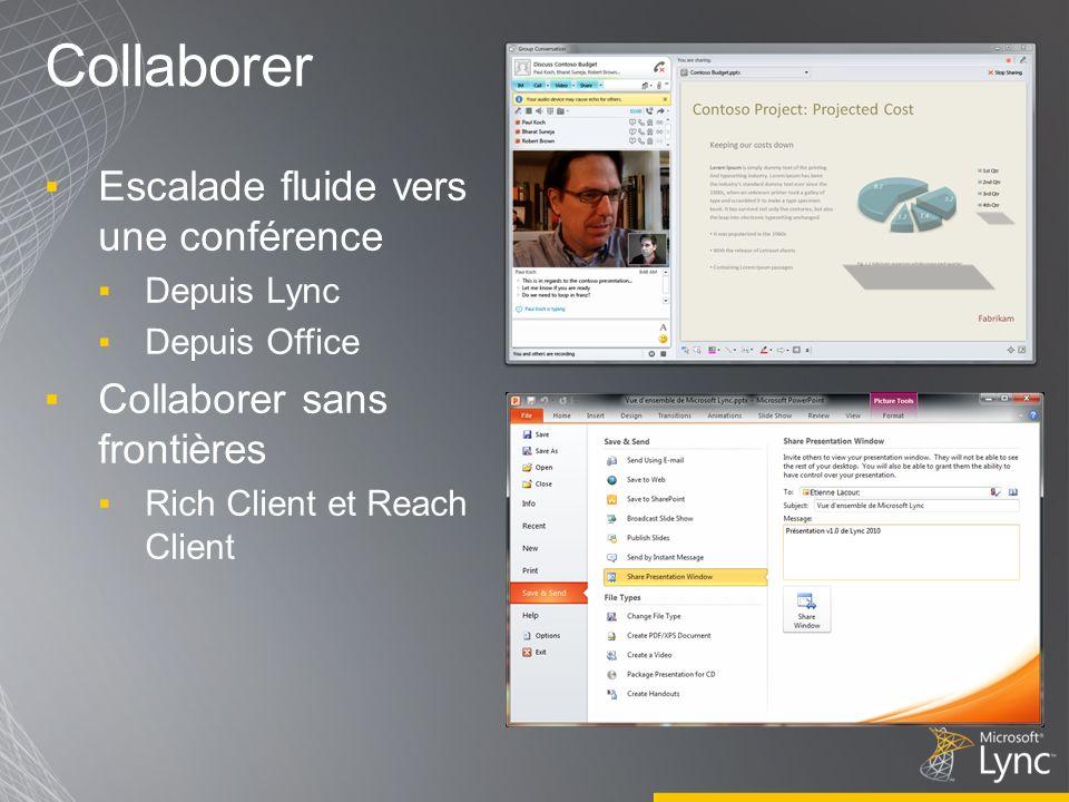 Collaborer Escalade fluide vers une conférence Depuis Lync Depuis Office Collaborer sans frontières Rich Client et Reach Client