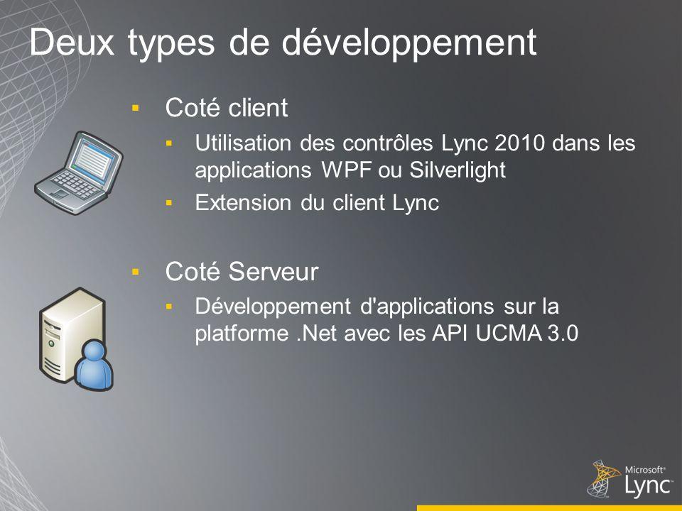 Deux types de développement Coté client Utilisation des contrôles Lync 2010 dans les applications WPF ou Silverlight Extension du client Lync Coté Serveur Développement d applications sur la platforme.Net avec les API UCMA 3.0