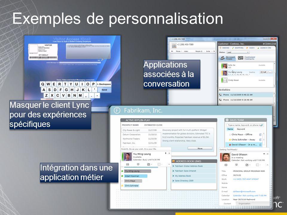 Exemples de personnalisation Masquer le client Lync pour des expériences spécifiques Applications associées à la conversation Intégration dans une application métier