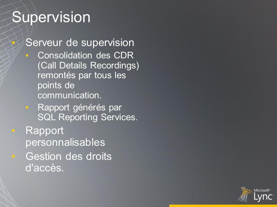 Supervision Serveur de supervision Consolidation des CDR (Call Details Recordings) remontés par tous les points de communication. Rapport générés par