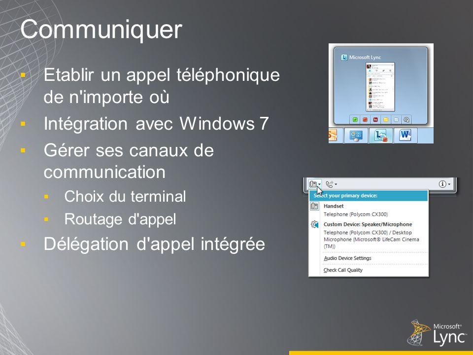Communiquer Etablir un appel téléphonique de n'importe où Intégration avec Windows 7 Gérer ses canaux de communication Choix du terminal Routage d'app