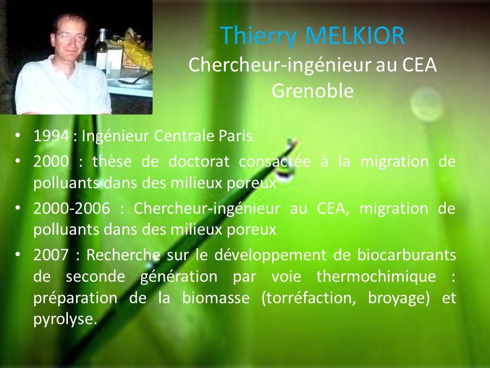 Thierry MELKIOR Chercheur-ingénieur au CEA Grenoble 1994 : Ingénieur Centrale Paris 2000 : thèse de doctorat consacrée à la migration de polluants dan