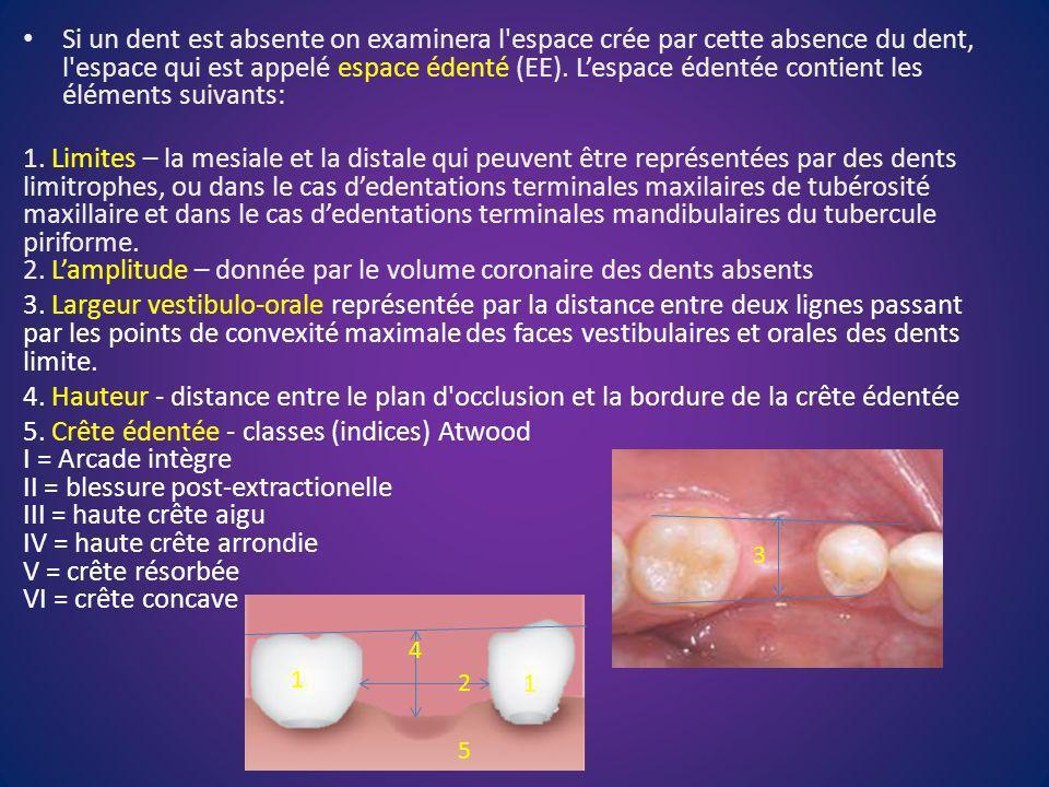 Si un dent est absente on examinera l'espace crée par cette absence du dent, l'espace qui est appelé espace édenté (EE). Lespace édentée contient les