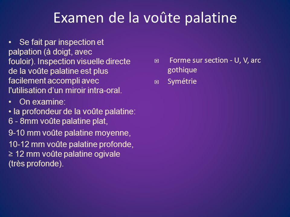 Examen de la voûte palatine Se fait par inspection et palpation (à doigt, avec fouloir). Inspection visuelle directe de la voûte palatine est plus fac