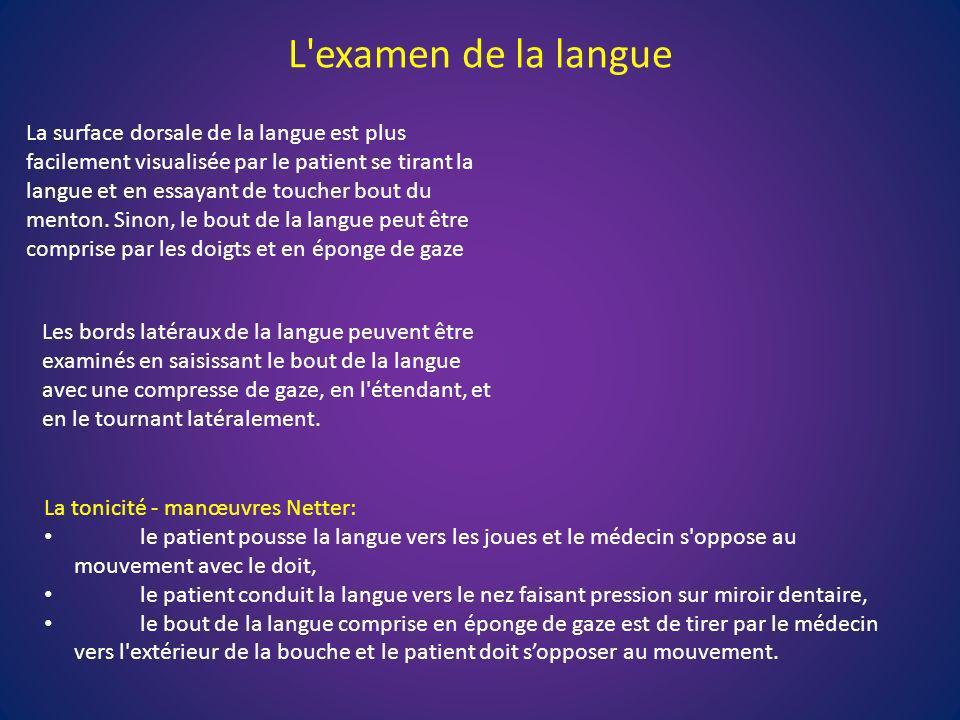 L'examen de la langue La surface dorsale de la langue est plus facilement visualisée par le patient se tirant la langue et en essayant de toucher bout