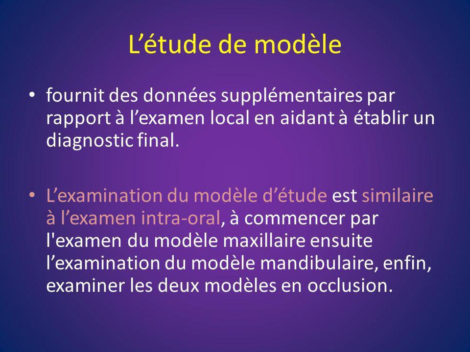 Létude de modèle fournit des données supplémentaires par rapport à lexamen local en aidant à établir un diagnostic final. Lexamination du modèle détud