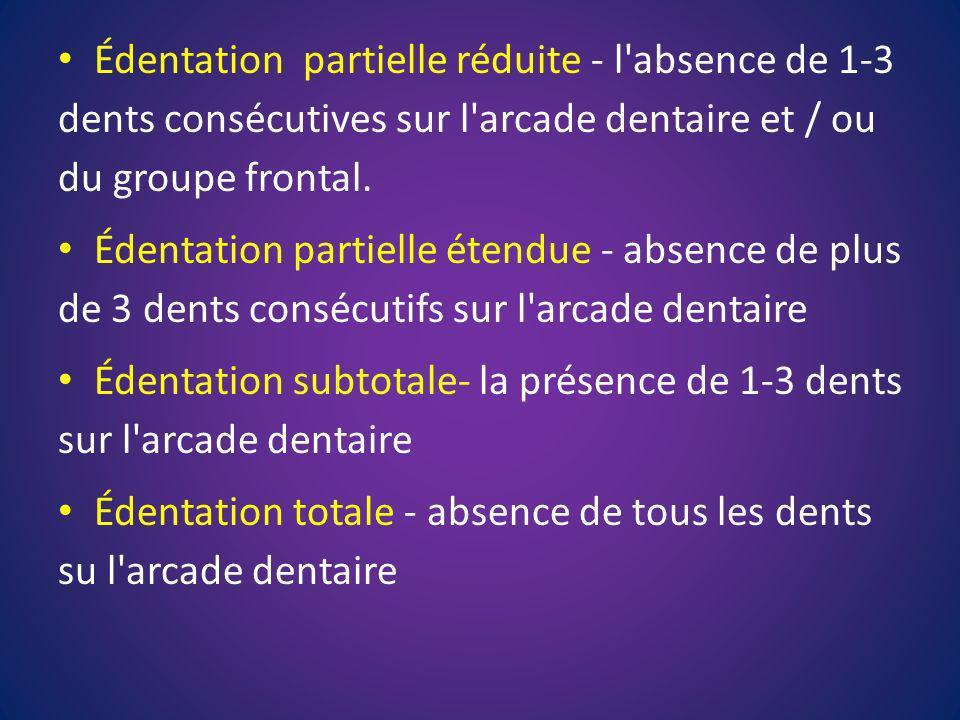 Édentation partielle réduite - l'absence de 1-3 dents consécutives sur l'arcade dentaire et / ou du groupe frontal. Édentation partielle étendue - abs
