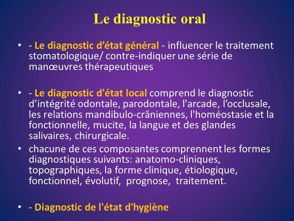 Le diagnostic oral - Le diagnostic détat général - influencer le traitement stomatologique/ contre-indiquer une série de manœuvres thérapeutiques - Le