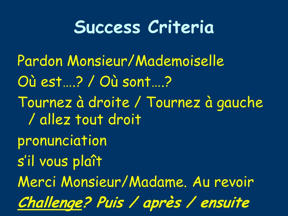 Success Criteria Pardon Monsieur/Mademoiselle Où est…..