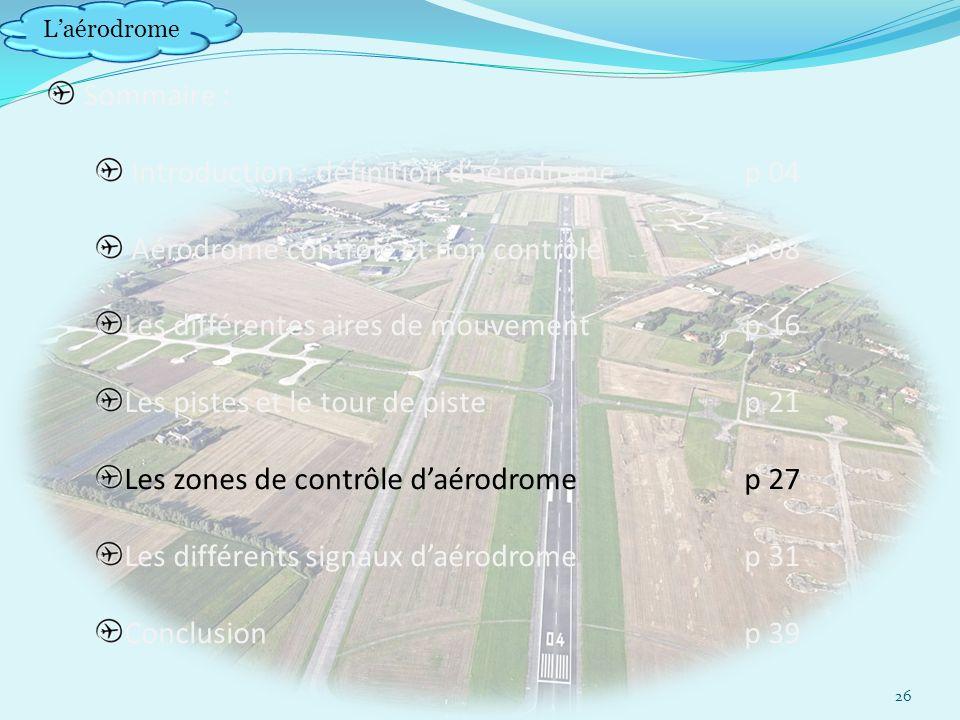 Laérodrome Sommaire : Introduction : définition daérodrome p 04 Aérodrome contrôlé et non contrôlép 08 Les différentes aires de mouvement p 16 Les pistes et le tour de pistep 21 Les zones de contrôle daérodrome p 27 Les différents signaux daérodromep 31 Conclusionp 39 26