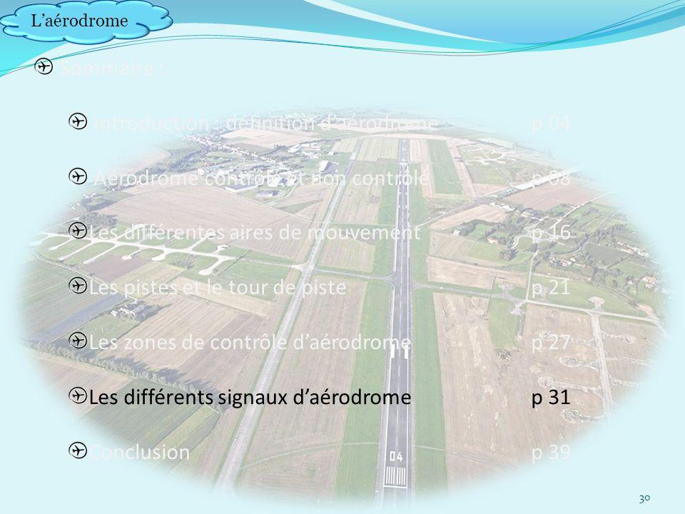 Laérodrome Sommaire : Introduction : définition daérodrome p 04 Aérodrome contrôlé et non contrôlép 08 Les différentes aires de mouvement p 16 Les pistes et le tour de pistep 21 Les zones de contrôle daérodrome p 27 Les différents signaux daérodromep 31 Conclusionp 39 30