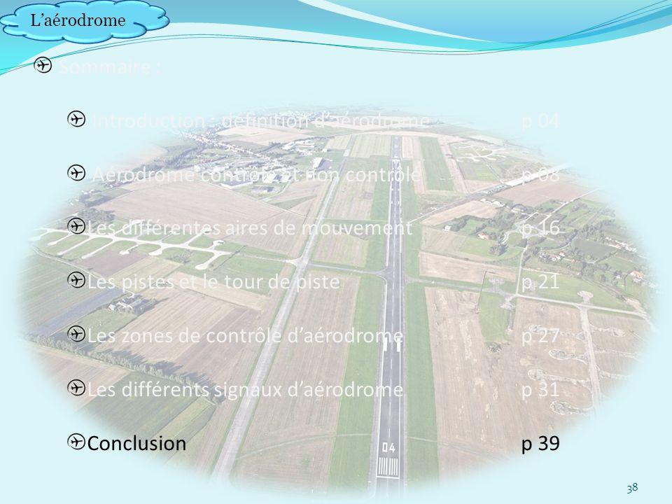 Laérodrome Sommaire : Introduction : définition daérodrome p 04 Aérodrome contrôlé et non contrôlép 08 Les différentes aires de mouvement p 16 Les pistes et le tour de pistep 21 Les zones de contrôle daérodrome p 27 Les différents signaux daérodromep 31 Conclusionp 39 38