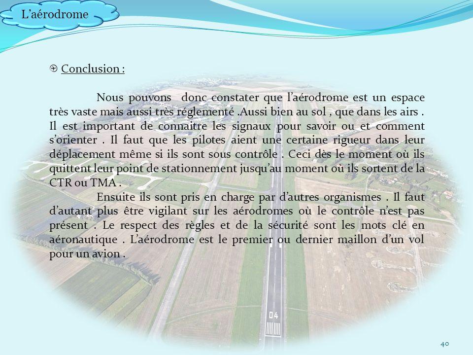 Laérodrome 40 Conclusion : Nous pouvons donc constater que laérodrome est un espace très vaste mais aussi très réglementé.Aussi bien au sol, que dans les airs.