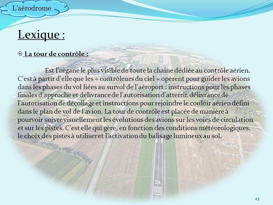 Laérodrome Lexique : La tour de contrôle : Est l organe le plus visible de toute la chaine dédiée au contrôle aérien.