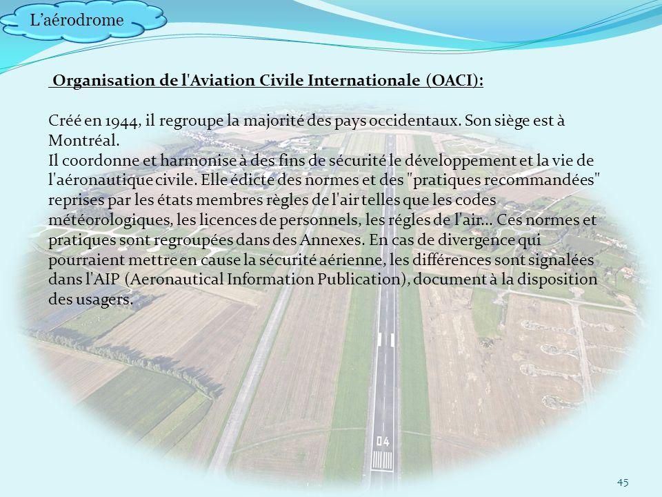 Laérodrome 45 Organisation de l Aviation Civile Internationale (OACI): Créé en 1944, il regroupe la majorité des pays occidentaux.