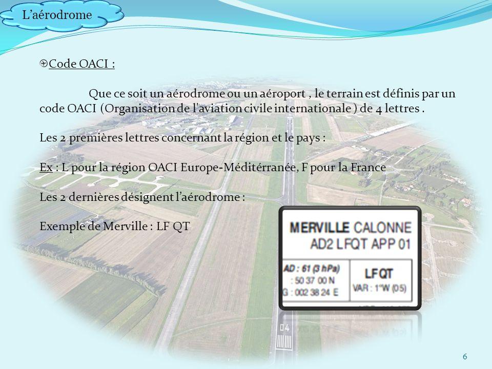 Laérodrome 6 Code OACI : Que ce soit un aérodrome ou un aéroport, le terrain est définis par un code OACI (Organisation de l aviation civile internationale ) de 4 lettres.