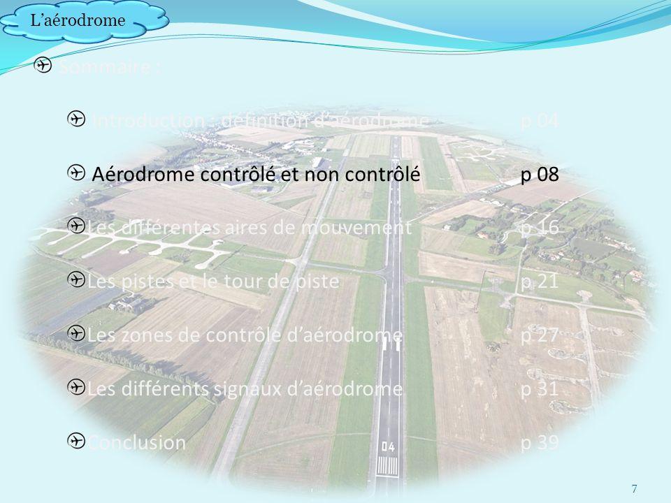 Laérodrome Sommaire : Introduction : définition daérodrome p 04 Aérodrome contrôlé et non contrôlép 08 Les différentes aires de mouvement p 16 Les pistes et le tour de pistep 21 Les zones de contrôle daérodrome p 27 Les différents signaux daérodromep 31 Conclusionp 39 7